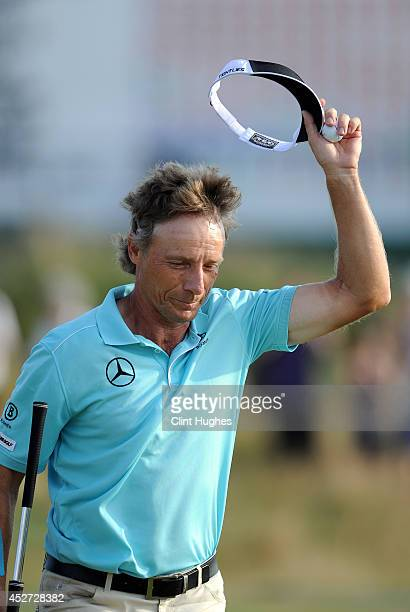 Bernhard Langer of Germany waves to the crowd after he fineshes his round during the third round of the Senior Open Championship at Royal Porthcawl...