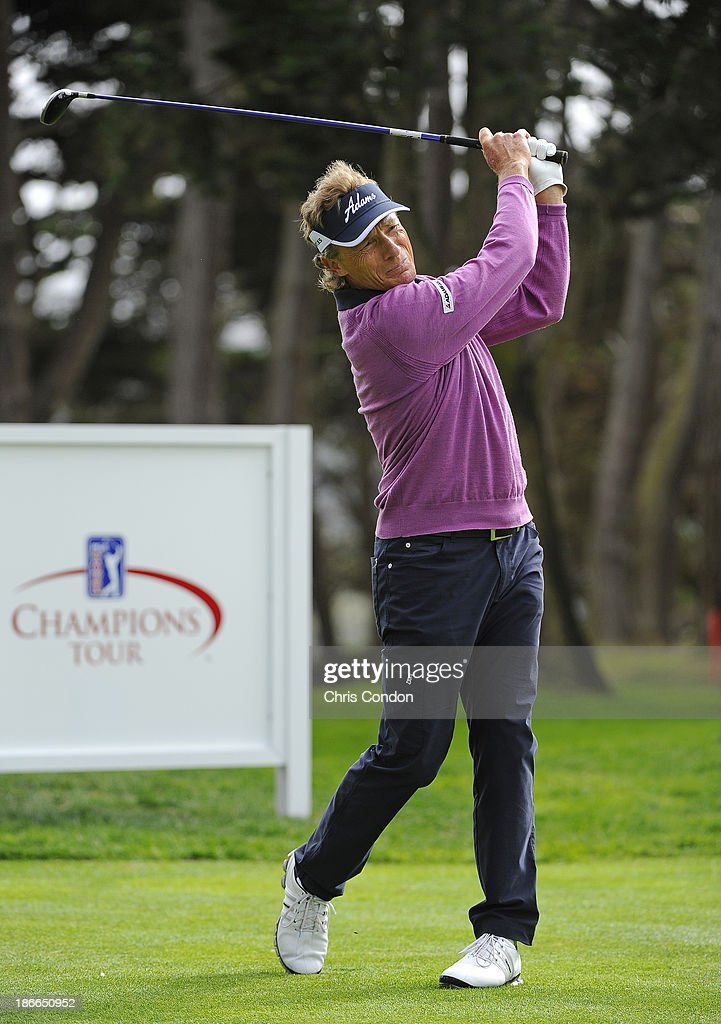 Bernhard Langer of Gernamy plays from the 15th tee during the third round of the Charles Schwab Cup Championship at TPC Harding Park on November 2, 2013 in San Francisco, California.