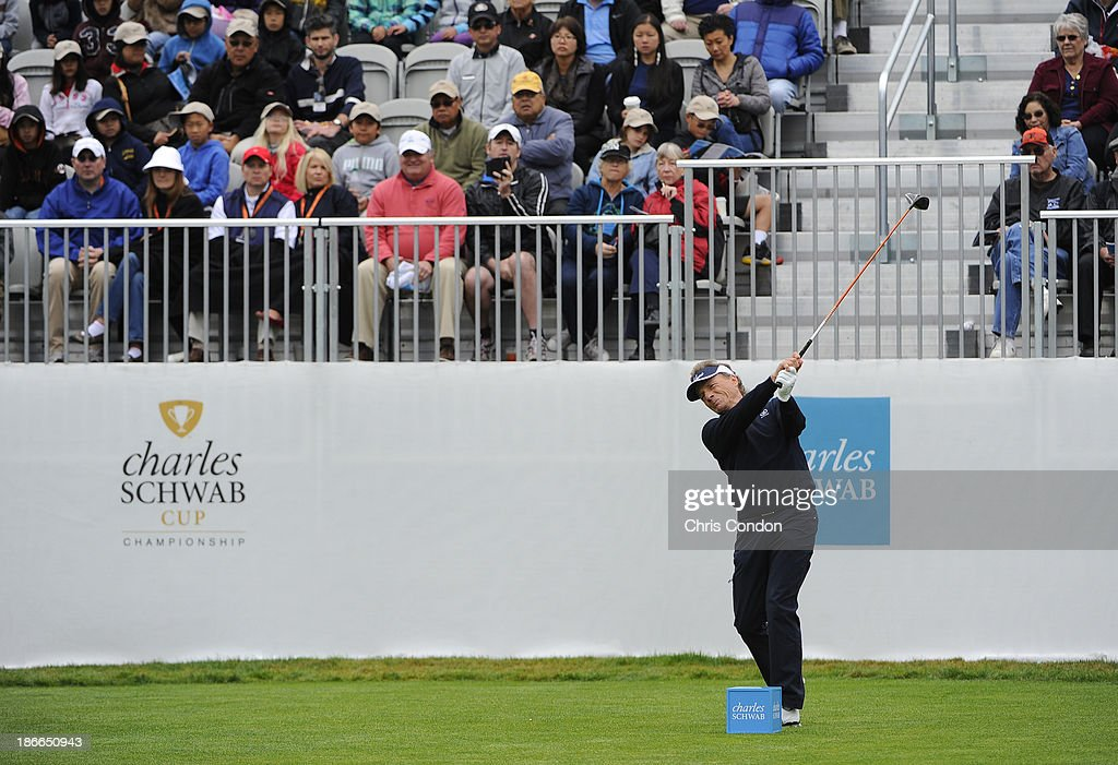 <a gi-track='captionPersonalityLinkClicked' href=/galleries/search?phrase=Bernhard+Langer&family=editorial&specificpeople=167071 ng-click='$event.stopPropagation()'>Bernhard Langer</a> of Gernamy plays from the first tee during the third round of the Charles Schwab Cup Championship at TPC Harding Park on November 2, 2013 in San Francisco, California.