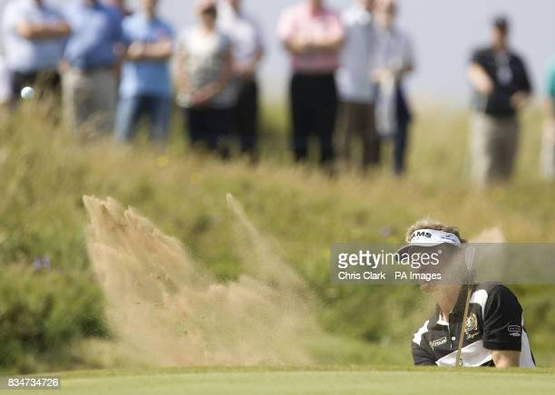 Bernhard Langer plays during the British Seniors Open at Royal Troon Golf Club in Ayrshire