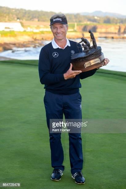 Bernhard Langer poses with the champion's trophy after winning the final round of the Champions Tour Pure Insurance Championship on September 24 2017...