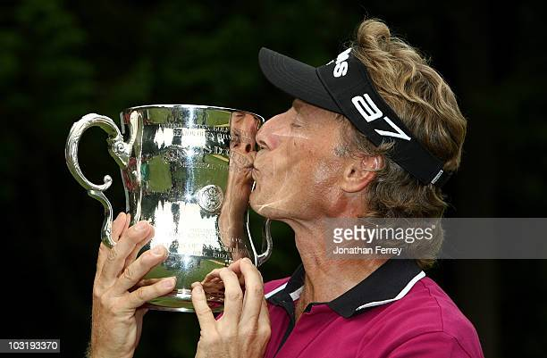Bernhard Langer poses with the trophy after winning the US Senior Open Championship on August 1 2010 at Sahalee Country Club in Sammamish Washington