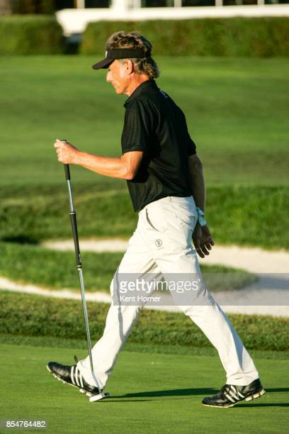 Bernhard Langer putts the ball on the 16th hole during of the 2nd round of the Champions Tour Pure Insurance Championship on September 23 2017 in...