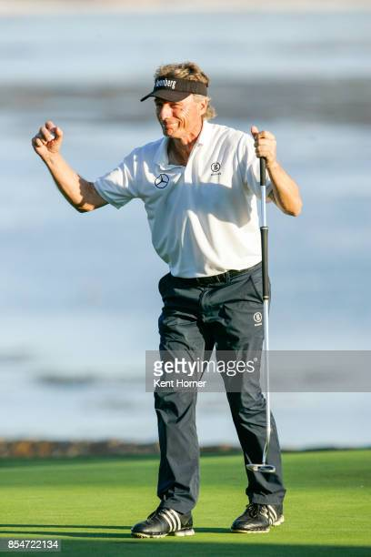 Bernhard Langer raises his fists in celebration after winning the final round of the Champions Tour Pure Insurance Championship on September 24 2017...