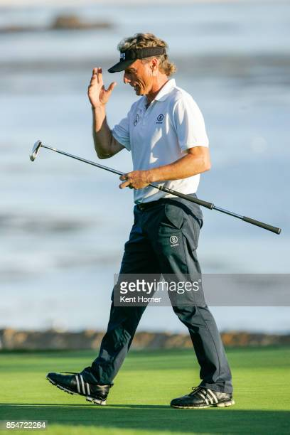 Bernhard Langer removes his visor in celebration after winning the final round of the Champions Tour Pure Insurance Championship on September 24 2017...