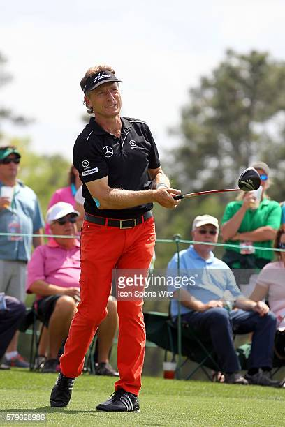 Bernhard Langer tees off during the 2015 Masters Tournament at the Augusta National Golf Club in Augusta Georgia