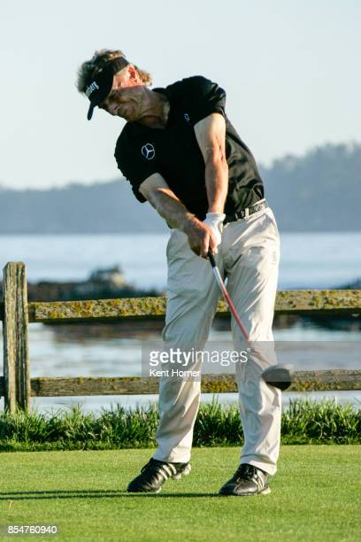 Bernhard Langer tees off on the 17th hole of the 2nd round of the Champions Tour Pure Insurance Championship on September 23 2017 in Pebble Beach...