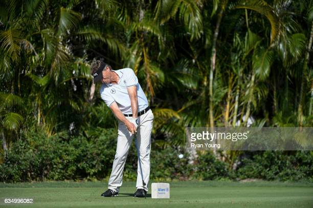 Bernhard Langer tees off on the third hole during the final round of the PGA TOUR Champions Allianz Championship at The Old Course at Broken Sound on...