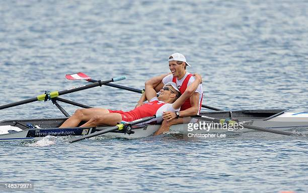 Bernhard Sieber and Paul Sieber of Austria celebate winning the Lightweight Men's Double Sculls Final during Day 5 of the 2012 FISA World Rowing U23...