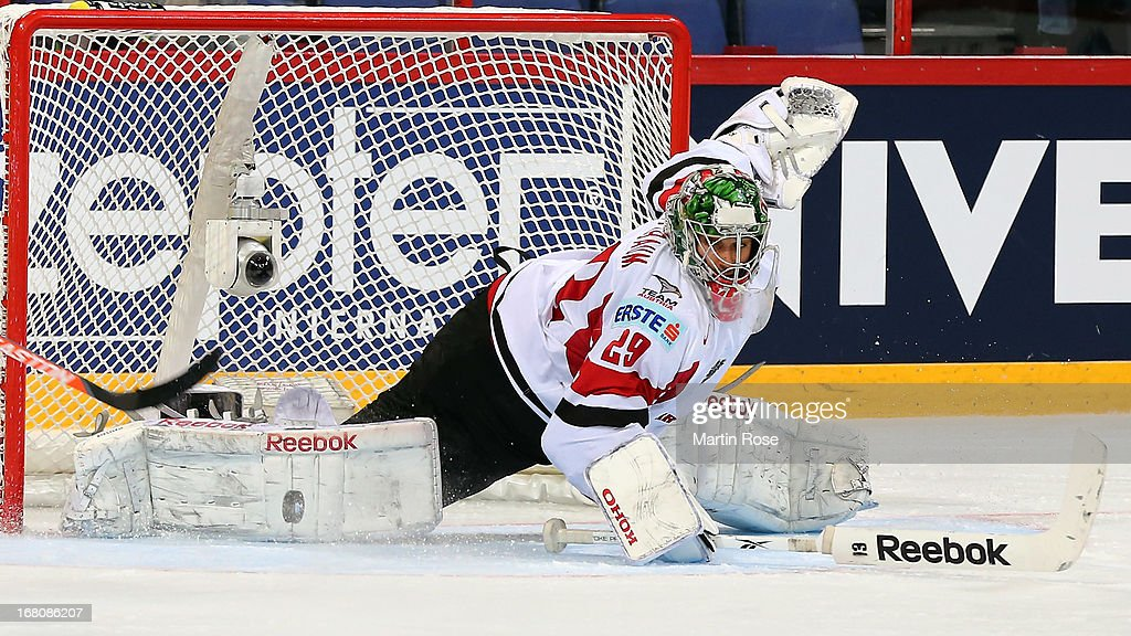 Bernhard Starkbaum, goaltender of Austria makes a save during the IIHF World Championship group H match between France and Austria at Hartwall Areena on May 5, 2013 in Helsinki, Finland.