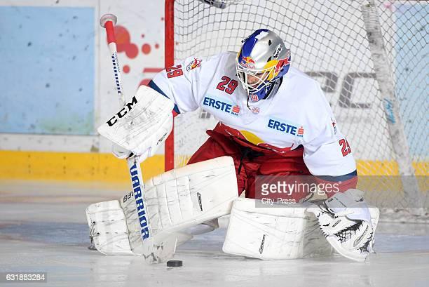 Bernhard Starkbaum of EC Red Bull Salzburg handles the puck during the action shot September 16 2016 in Salzburg Austria
