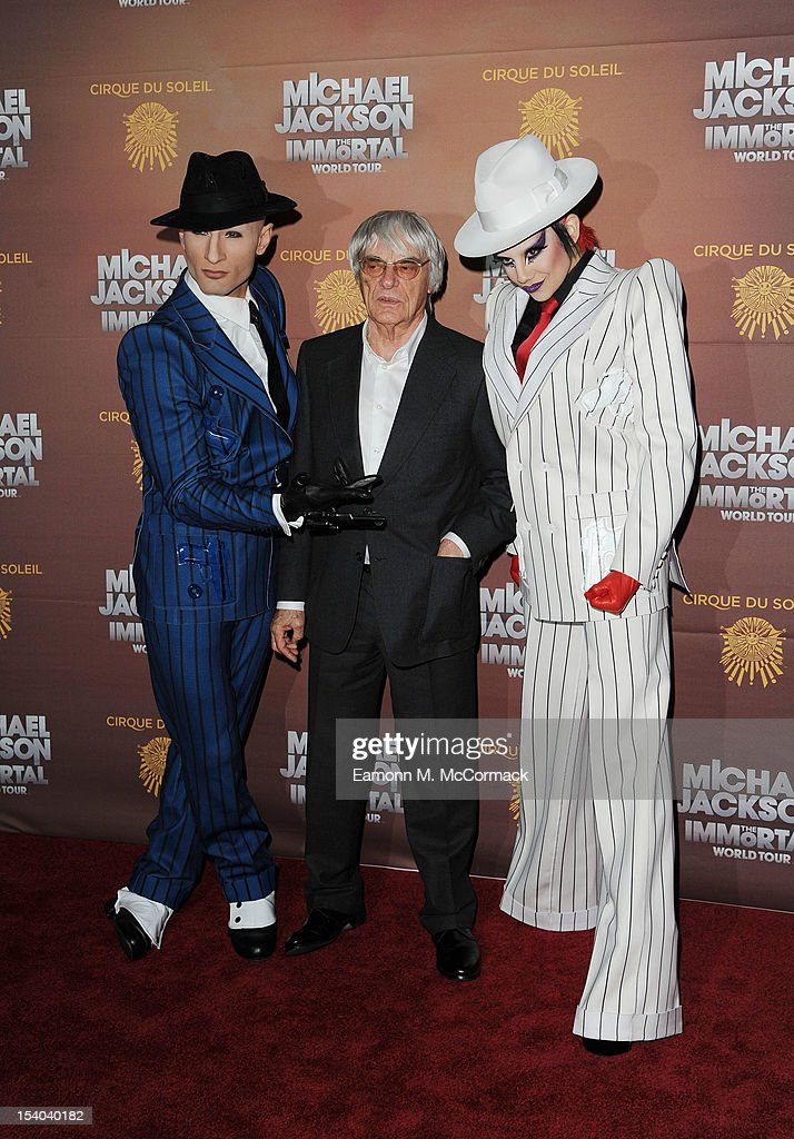 <a gi-track='captionPersonalityLinkClicked' href=/galleries/search?phrase=Bernie+Ecclestone&family=editorial&specificpeople=211579 ng-click='$event.stopPropagation()'>Bernie Ecclestone</a> attends the opening night of Cirque Du Soleil's 'Michael Jackson The Immortal World Tour' at 02 Arena on October 12, 2012 in London, England.