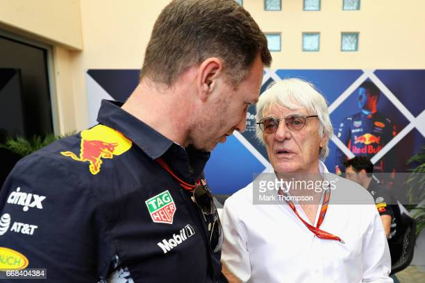 Bernie Ecclestone Chairman Emeritus of the Formula One Group talks with Red Bull Racing Team Principal Christian Horner during practice for the...