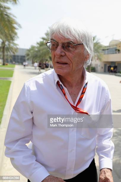 Bernie Ecclestone Chairman Emeritus of the Formula One Group walks in the Paddock during practice for the Bahrain Formula One Grand Prix at Bahrain...