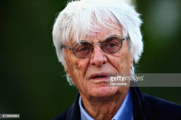 Bernie Ecclestone Chairman Emeritus of the Formula One Group walks in the Paddock during previews to the Formula One Grand Prix of Russia on April 27...