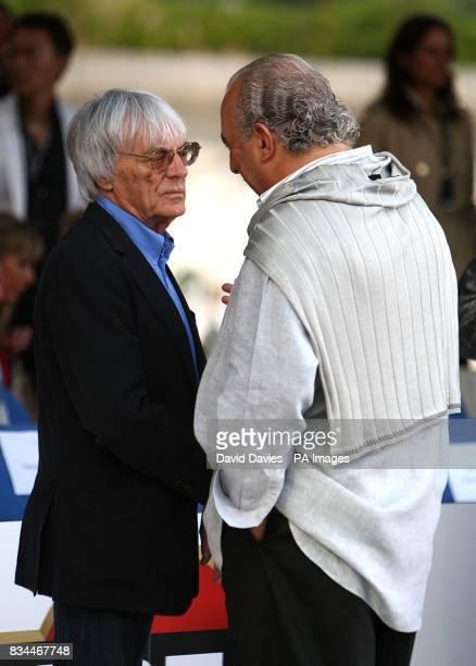 Bernie Ecclestone chats to Sir Philip Green at the Grand Prix and Fashion Unite at The Amber Lounge Le Meridien Beach Plaza Hotel Monaco