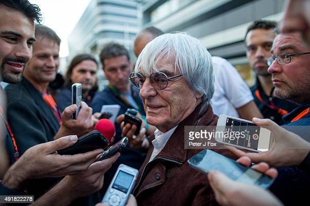 Bernie Ecclestone of Great Britain and FOM chats with the media during previews to the Formula One Grand Prix of Russia at Sochi Autodrom on October...