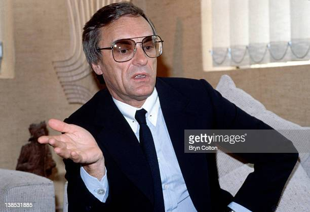 Bernie Ecclestone owner of the Brabham Grand Prix team gestures as he speaks during an interview at the teams racing headquarters in Chessington...