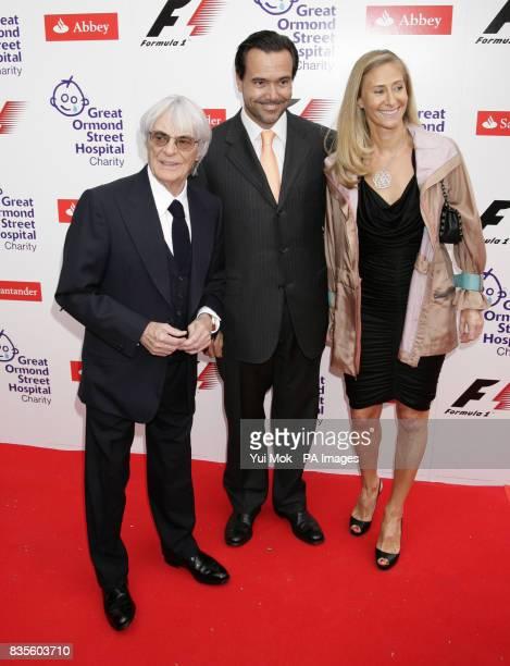 Bernie Ecclestone with Ana HortaOsorio and Antonio HortaOsorio arrive for the Formula One Party at the VA Museum in Kensington west London