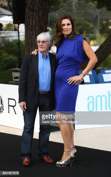 Bernie Ecclestone with his wife Slavica arrive for the Grand Prix and Fashion Unite at The Amber Lounge Le Meridien Beach Plaza Hotel Monaco