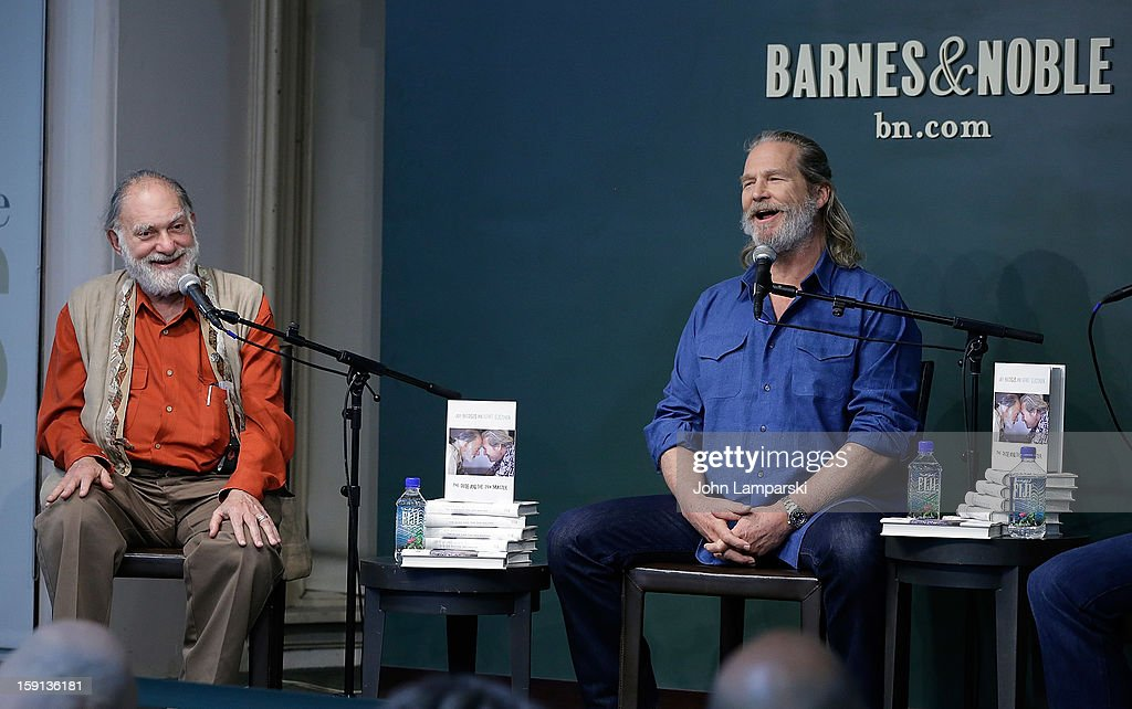 Bernie Glassman and Jeff Bridges attend Jeff Bridges and Bernie Glassman in Conversation With James Shaheen: 'The Dude and the Zen Master' at Barnes & Noble Union Square on January 8, 2013 in New York City.