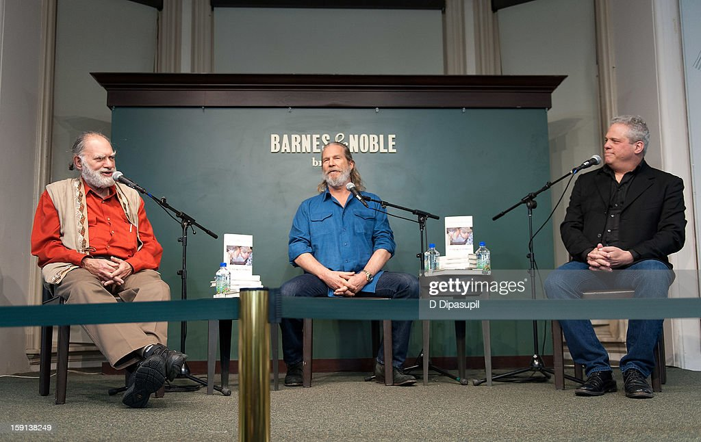 Bernie Glassman, Jeff Bridges, and James Shaheen visit Barnes & Noble Union Square on January 8, 2013 in New York City.