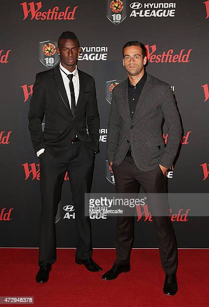 Bernie Ibini and Alex Brosque of Sydney FC arrive ahead of the ALeague WLeague 2014/15 Awards Night at Carriageworks on May 11 2015 in Sydney...