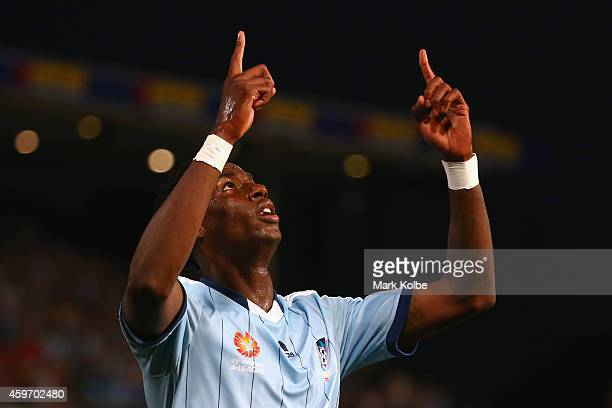 Bernie Ibini of Sydney FC celebrates scoring a goal during the round eight ALeague match between Western Sydney Wanderers and Sydney FC at Pirtek...