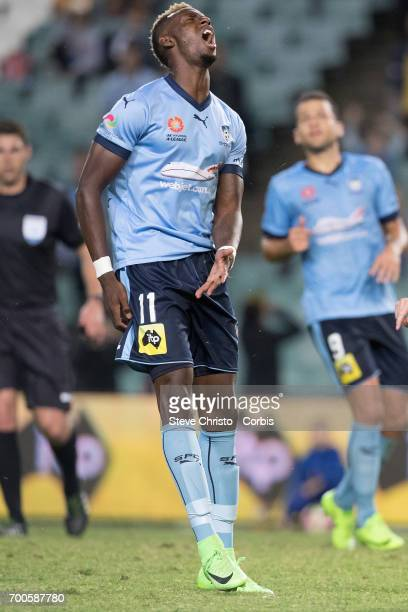 Bernie Ibini of Sydney FC in action in the round 23 match between Sydney FC and Central Coast Mariners at Allianz Stadium on Friday 10th of March...