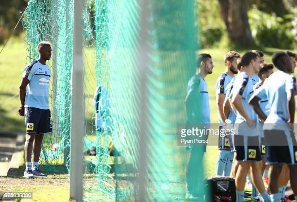 Bernie Ibini of Sydney FC looks on during a Sydney FC ALeague training session at Macquarie Uni on May 2 2017 in Sydney Australia