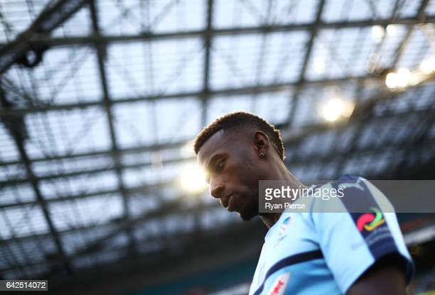 Bernie Ibini of Sydney FC walks out onto the pitch during the round 20 ALeague match between the Western Sydney Wanderers and Sydney FC at ANZ...