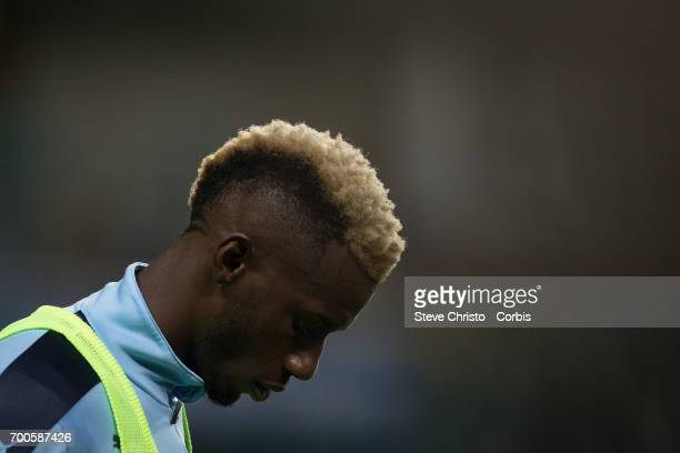 Bernie Ibini of Sydney FC warms up in the round 23 match between Sydney FC and Central Coast Mariners at Allianz Stadium on Friday 10th of March 2017...