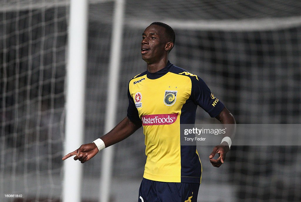 Bernie Ibini of the Mariners celebrates his second goal during the round 20 A-League match between the Central Coast Mariners and the Wellington Phoenix at Bluetongue Stadium on February 7, 2013 in Gosford, Australia.