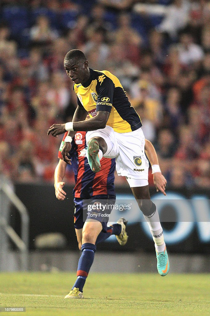 Bernie Ibini of the Mariners takes a shot at goal during the round ten A-League match between the Newcastle Jets and the Central Coast Mariners at Hunter Stadium on December 8, 2012 in Newcastle, Australia.