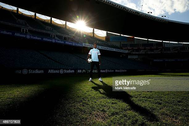 Bernie Ibini poses during a Sydney FC player signing announcement at Allianz Stadium on May 12 2014 in Sydney Australia
