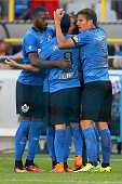 Bernie IbiniIsei of Brugge celebrates the first goal with his team mates during the Supercup match between Club Brugge and Standrad Liege at...