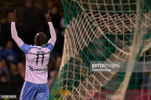 Bernie IbiniIsei of Sydney celebrates scoring a goalduring the FFA Cup Semi Final match between Canberra Olympic and Sydney FC at Viking Park on...
