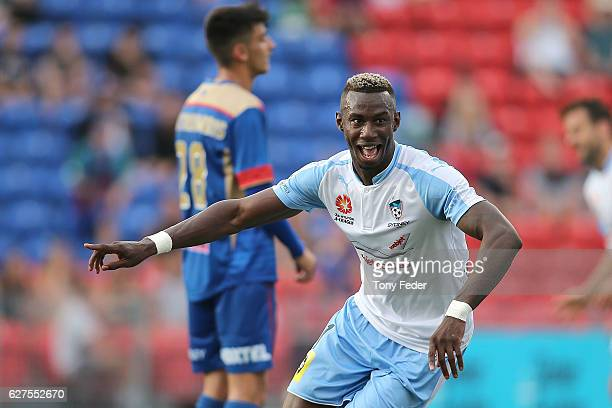 Bernie IbiniIsei of Sydney FC celebrates a goal during the round nine ALeague match between the Newcastle Jets and Sydney FC at McDonald Jones...