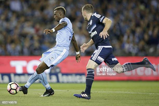Bernie IbiniIsei of Sydney FC scores during the round 17 ALeague match between the Melbourne Victory and Sydney FC at Etihad Stadium on January 26...