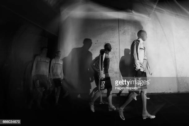 Bernie IbiniIsei of Sydney FC walks out of the players tunnel during the round 26 ALeague match between the Wellington Phoenix and Sydney FC at...