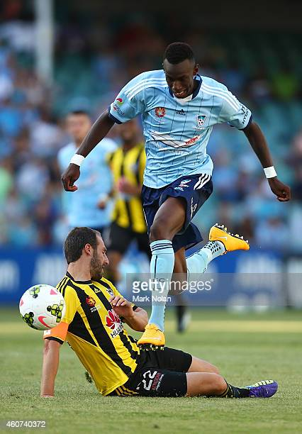 Bernie IbiniIsei of Sydney jumps over Andrew Durante of Wellington during the round 12 ALeague match between Sydney FC and Wellington Phoenix at...