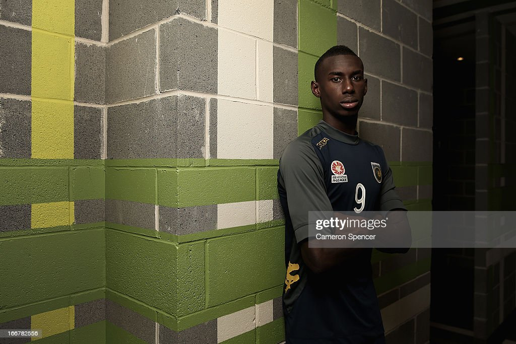Bernie Ibini-Isei of the Mariners poses for a portrait during a Central Coast Mariners A-League training session at Central Coast Mariners Centre of Excellence on April 17, 2013 in Tuggerah, Australia.