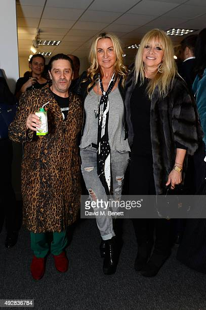 Bernie Katz Meg Mathews and Jo Wood attend as Meg Mathews and Baker Street Boys launch 'The Line' collection exhibition at Robin Partington Partners...