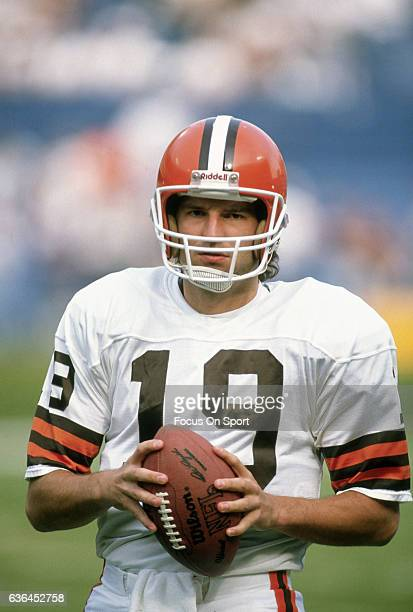 Bernie Kosar of the Cleveland Browns warms up during pregame warm ups prior to playing the Houston Oilers in an NFL Football game October 29 1989 at...