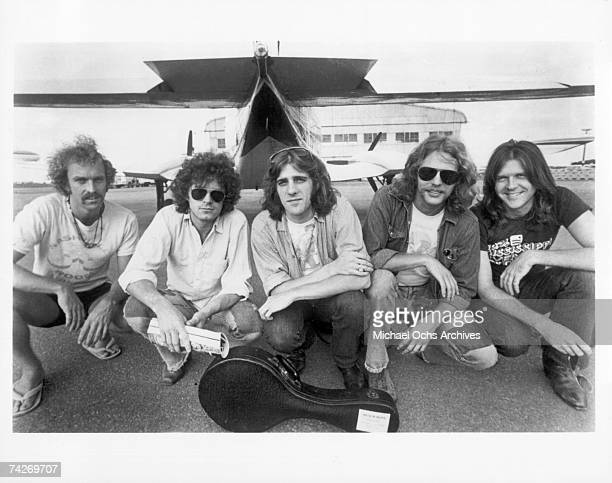 Bernie Leadon Don Henley Glenn Frey Don Felder and Randy Meisner of the rock and roll band 'Eagles' pose for a portrait in circa 1976