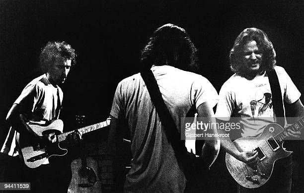 Bernie Leadon Glenn Frey and Don Felder of The Eagles perform on stage c 1974 in United States
