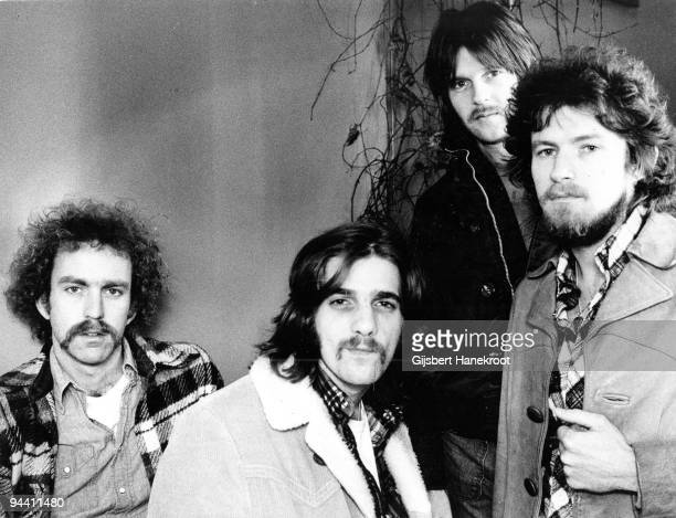 Bernie Leadon Glenn Frey Randy Meisner and Don Henley of The Eagles pose for a group portrait in London in 1973