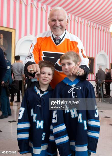 Bernie Parent with youth hockey players from the Ottawa and Gatineau region during the Stanley Cup Homecoming as part of the Stanley Cups 125th...