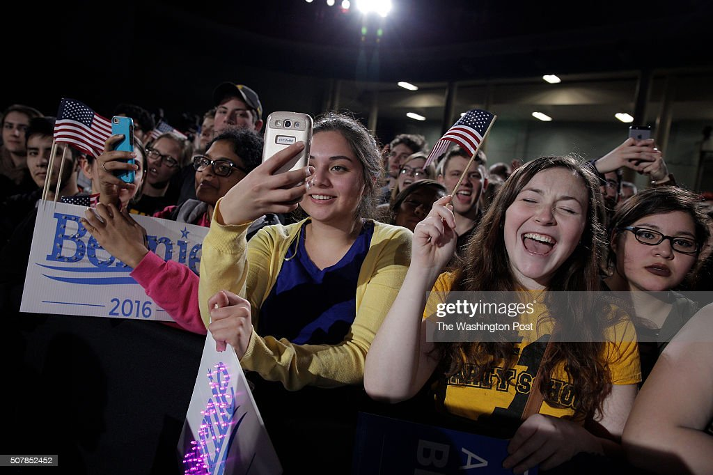 Bernie Sanders, a Democratic candidate for President of the U.S., attracts a huge crowd a rally at the University of Iowa.