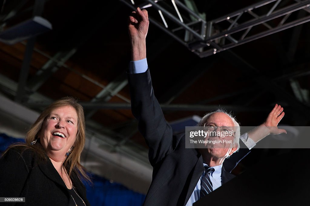 <a gi-track='captionPersonalityLinkClicked' href=/galleries/search?phrase=Bernie+Sanders&family=editorial&specificpeople=2908340 ng-click='$event.stopPropagation()'>Bernie Sanders</a> greets his supporters with his wife, Jane O'Meara Sanders, at Concord HS after winning NH.